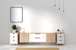 Leinwanddruck Bild - Tv cabinet in modern empty room Japanese - zen style,minimal designs. 3D rendering