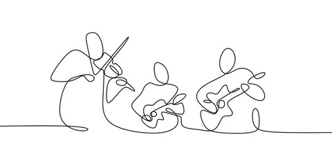 Classical music jazz players continuous one line drawing group of people play...