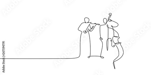 Two person playing cello and violin continuous one line drawing classical music Fotobehang