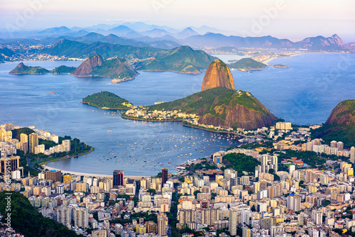 Photo  The mountain Sugarloaf and Botafogo in Rio de Janeiro, Brazil