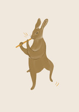 Dancing Hare With Flute