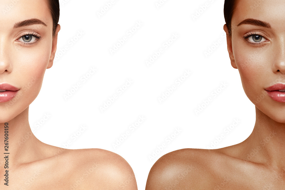 Fototapety, obrazy: Tanning Skin face portrait. Woman before and after tan spray