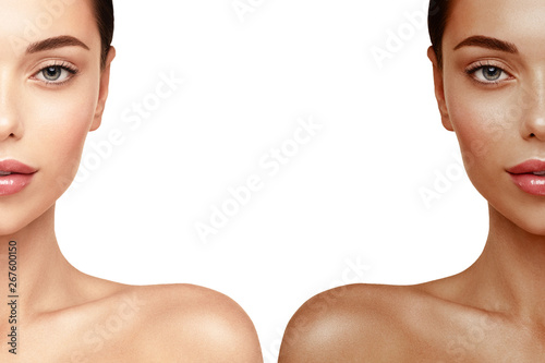 Tanning Skin face portrait. Woman before and after tan spray Canvas