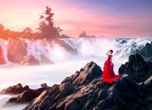 One Girl At Khon Phapheng Waterfall Laos