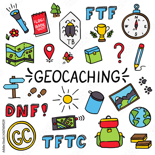 Geocaching colorful doodle drawing equipment set #267604529