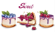 Sweet Cakes Set Vector Waterco...