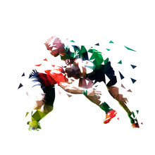Rugby Players, Isolated Low Po...