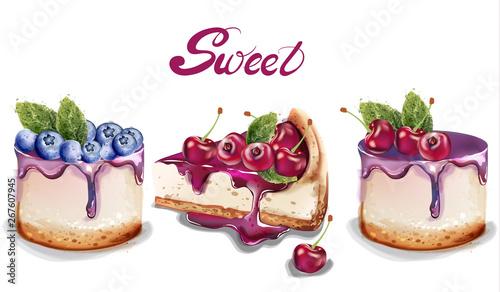 Cuadros en Lienzo Sweet cakes set Vector watercolor