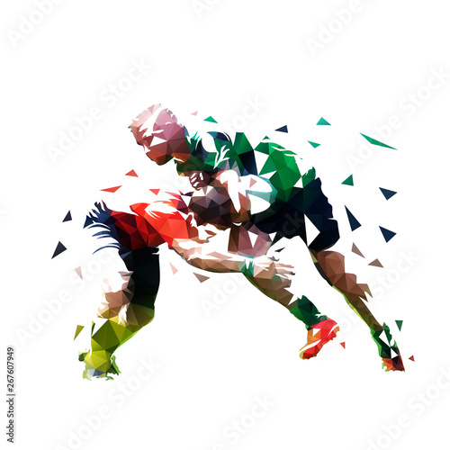 Fotografie, Obraz Rugby players, isolated low polygonal vector illustration