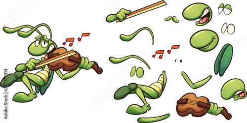 Fototapeta Singing cartoon grasshopper playing a violin clip art