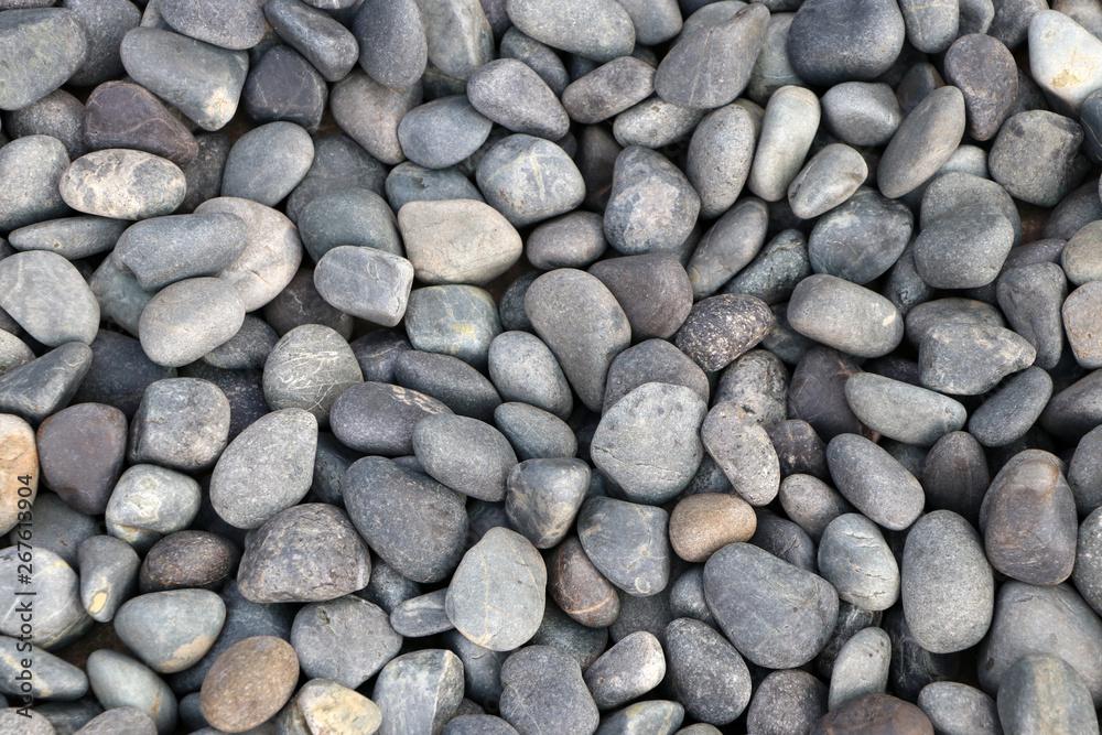 Fototapety, obrazy: Background pattern of round pebble stone.