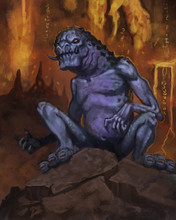 Blue And Purple Demon Creature In An Underground Cave With Lava Flows - Digital Fantasy Painting