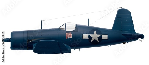 Fotografia  F4U-4 Vought Corsair - VMF-124 Kenneth Walsh - Okinawa -1945