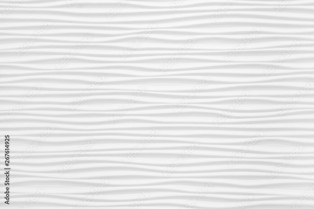 Fototapeta Beautiful and voluminous white wall surface in the form of waves. Gypsum panels for finishing walls in the form of waves
