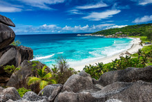 Amazing View At Grande Anse Beach Located On La Digue Island, Seychelles