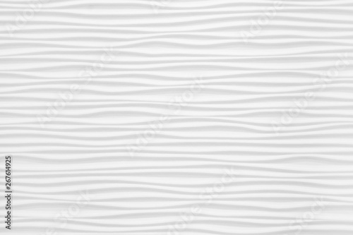Beautiful and voluminous white wall surface in the form of waves. Gypsum panels for finishing walls in the form of waves - 267614925