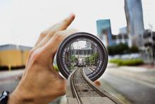 Train Coming Through Lens