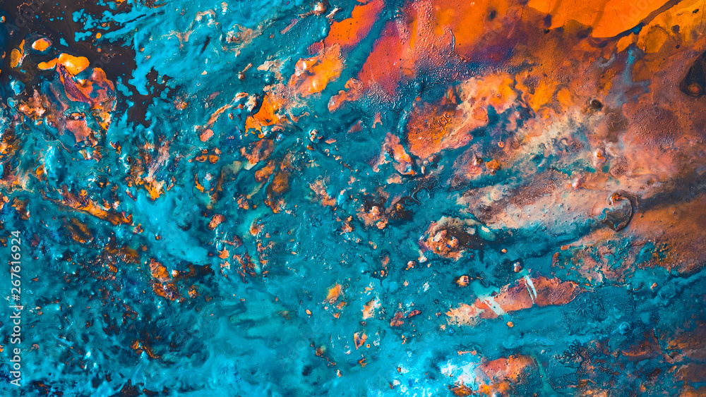 Fototapety, obrazy: Abstract art texture background. Red sunset sky design. Beautiful blue and orange paint mixture splash.