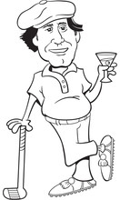 Black And White Illustration Of A Golfer Leaning On A Golf Club And Holding A Martini.