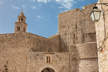 Inner Part Of Ploce Gate And Dominican Monastery Tower At The Beautiful Dubrovnik Walls