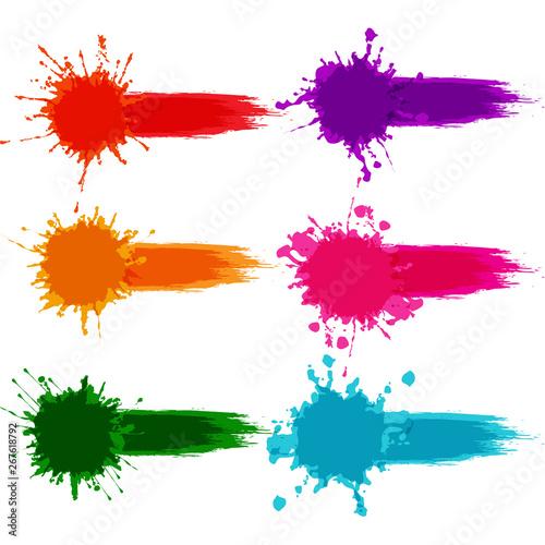 Fotografia  vector colorful paint splatter, paint splash set,illustration  vector  design