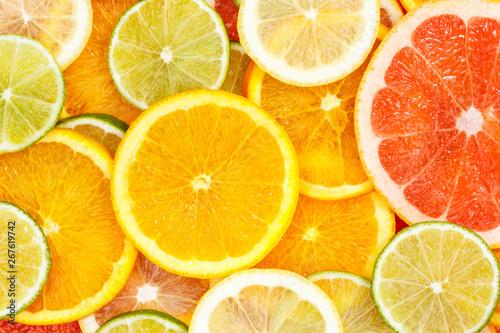 Citrus fruits collection food background oranges lemons limes grapefruit fresh fruit - 267619742
