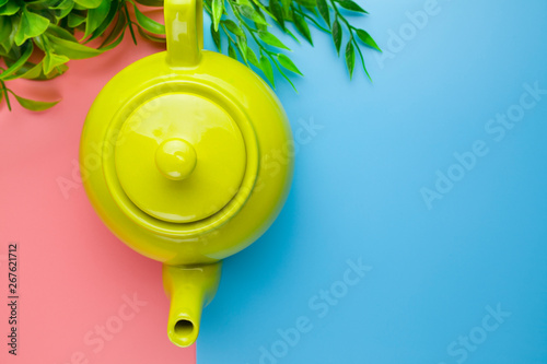 Fotomural Green classic teapot on a colorful pastel background