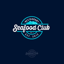 Seafood Restaurant Logo. Blue Sea With Waves And Lettering On A Circle. Vintage Style.