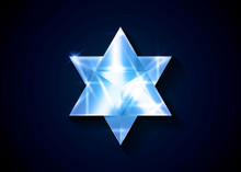 Sacred Geometry. 3D Crystal Merkaba Geometric Triangle Shape. Esoteric Or Spiritual Symbol. Isolated On Black Background. Glass Ice Star Tetrahedron Icon. Light Spirit Body, Wicca Esoteric Divination
