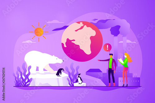 Global warming, environment pollution, global heating impact concept. Vector isolated concept illustration with tiny people and floral elements. Hero image for website. - 267624356