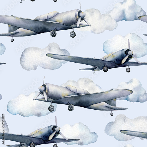Tapety do pokoju chłopca  watercolor-seamless-pattern-with-airplane-and-clouds-hand-painted-sky-illustration-with-propeller-plane-isolated-on-pastel-blue-background-for-design-prints-fabric-or-background