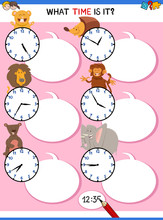 Telling Time Educational Worksheet With Animals