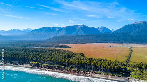 Aluminium Prints Dark grey Remote coastline with pine forest growing on the beach and high mountains on the background. West Coast, South Island, New Zealand