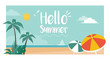 Hello summer vacations postcard with tropical beach