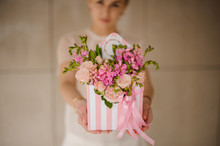 Hat Box With Flowers In Girl's...