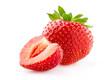 Ripe strawberry with slice in closeup