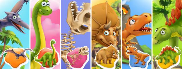 Postać z kreskówki dinozaurów. Brachiosaurus, pterodaktyl, tyrannosaurus rex, szkielet dinozaura, triceratops, stegozaur. Śmieszne zwierzęta 3d zestaw ikon wektorowych