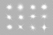 White glowing light explodes on a transparent background. Sparkling magical dust particles. Bright Star. Vector sparkles