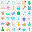 Trash icons set. Cartoon style of 36 trash vector icons for web for any design