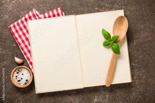 Fototapeta Cooking concept with cookbook on vintage table obraz