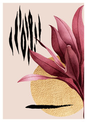 Fototapeta 3D Abstract composition of tropical plants, golden outline, geometric figures and animal pattern.