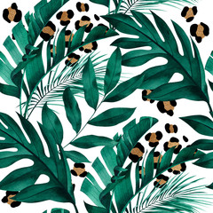 Fototapeta Do biura Tropical seamless pattern with exotic monstera, banana and palm leaves on white background.