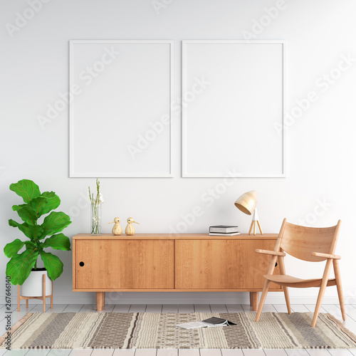 Fotografia, Obraz  Sideboard and two blank photo frame on wall for mockup, 3D rendering