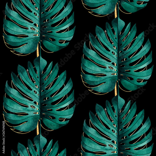 Tropical seamless pattern with exotic monstera plant leaves on black background Tablou Canvas