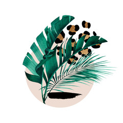 Fototapeta Liście Abstract composition of tropical plants, golden outline, geometric figures and animal pattern.