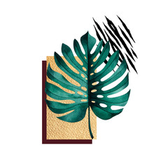 Fototapeta Liście Abstract composition of tropical monstera plant, golden geometric figures and animal pattern.