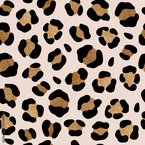 Photo Leopard pattern design with golden spots. Chic animal print.