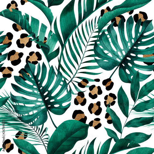 Tropical seamless pattern with exotic monstera, banana and palm leaves on white background.