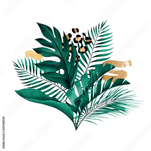 kompozycje-roslin-tropikalnych-ze-zlotymi-pociagnieciami-pedzla-i-wzorem-zwierzat