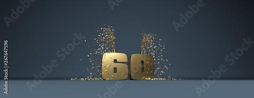 Photographie 60 ans, mot doré sur fond bleu